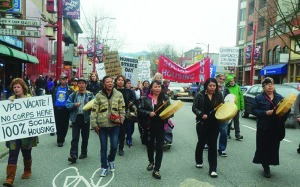 March from DTES to City Hall supporting Homeless Dave's hunger strike (pic. AHA Media)