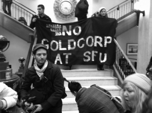 MiningAndGent_No Goldcorp at SFU students and dtes protest Jan2011_GREY