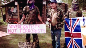 Secwepemc elder Wolverine middle during 1995 siege at TsPetenGustafsen Lake BC copy
